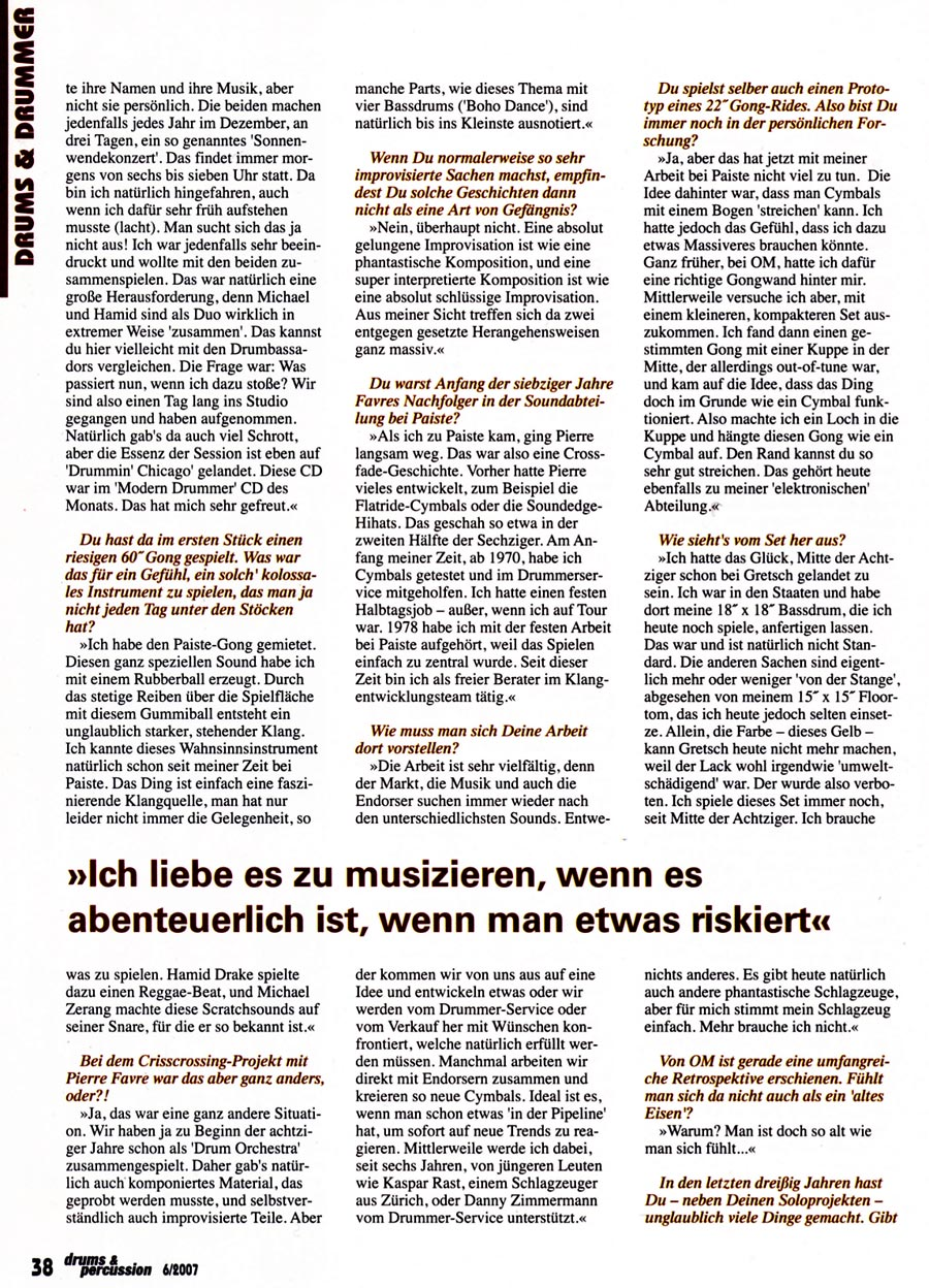 Fredy Studer - Drums/Percussion - Interviews